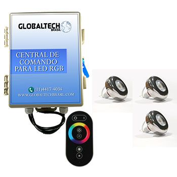 Led Piscina - Kit 3 Led Tholz 6W Inox RGB + Central + Controle Touch