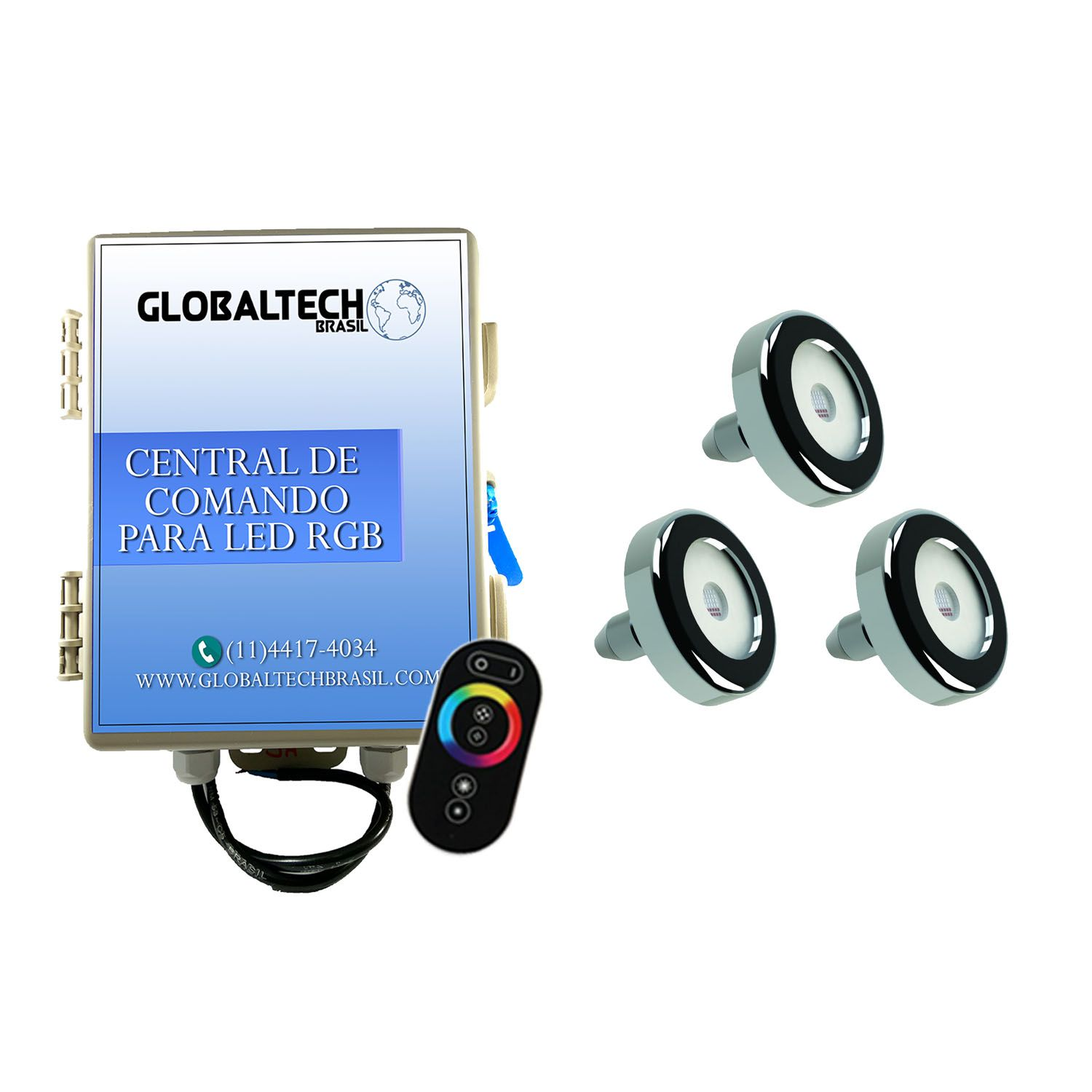 Kit 3 Led Piscina Inox RGB 9W + Central + Controle - Tholz