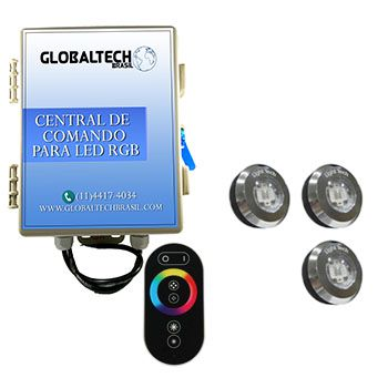 Led Piscina - Kit 3 Tiny Led INOX RGB + Central + Controle Touch
