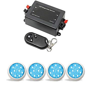 Led Piscina - Kit 4 Led Monocromático 9w + Central + Controle
