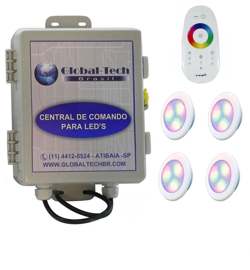 Led Piscina - Kit 4 Led RGB 6W ABS Divina Lux + Central + Controle