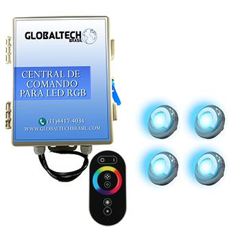 Led Piscina - Kit 4 Led Tholz 9W Inox RGB + Central + Controle Touch