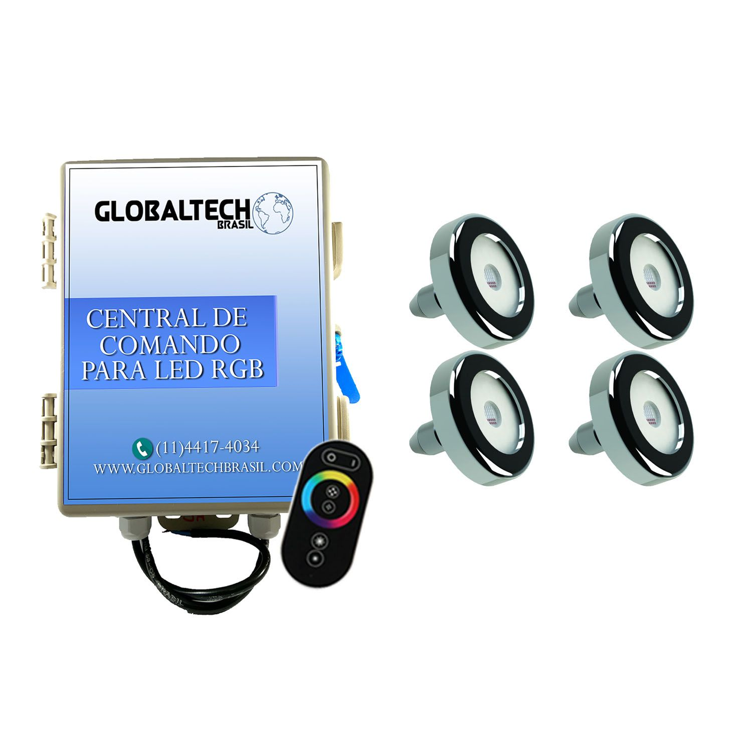 Kit 4 Led Piscina Inox RGB 9W + Central + Controle - Tholz