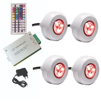 Kit 4 Led Piscina Tec Light ABS RGB + Central Compacta