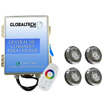 Led Piscina - Kit 4 Tiny Led INOX RGB + Central + Controle Touch