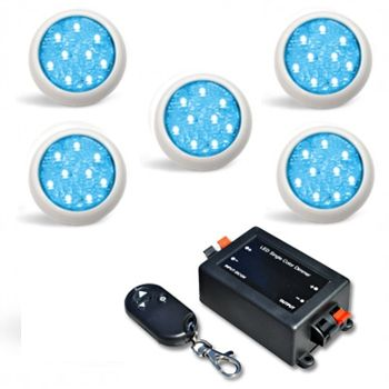 Led Piscina - Kit 5 Led Monocromático 9w + Central + Controle