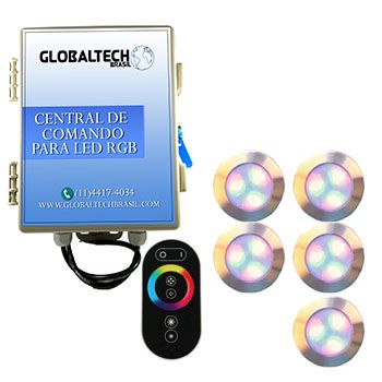 Led Piscina - Kit 5 Led RGB 12W Inox Divina Lux + Central + Controle