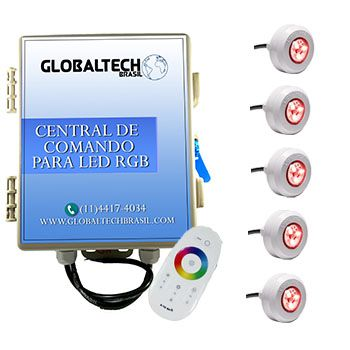 Led Piscina - Kit 5 Led Tec Light ABS RGB + Central + Controle Touch