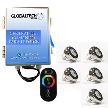 Led Piscina - Kit 5 Led Tholz 6W Inox RGB + Central + Controle Touch