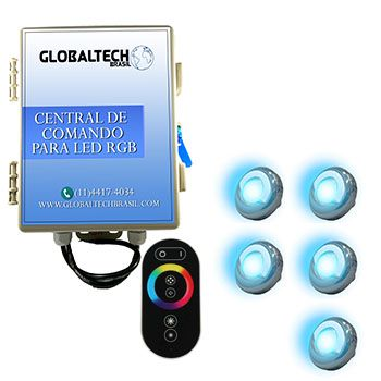 Led Piscina - Kit 5 Led Tholz 9W Inox RGB + Central + Controle Touch