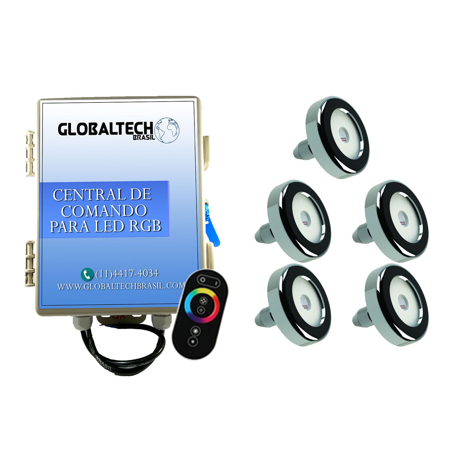 Kit 5 Led Piscina Inox RGB 9W + Central + Controle - Tholz