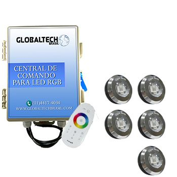 Led Piscina - Kit 5 Tiny Led INOX RGB + Central + Controle Touch