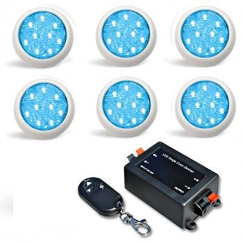 Led Piscina - Kit 6 Led Monocromático 9w + Central + Controle