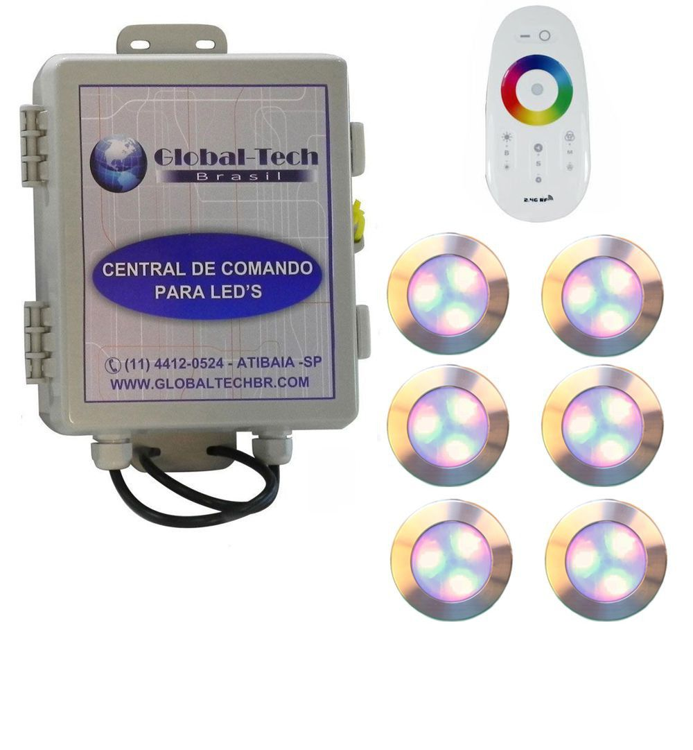 Led Piscina - Kit 6 Led RGB 12W Inox Divina Lux + Central + Controle