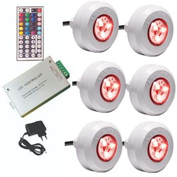Kit 6 Led Piscina Tec Light ABS RGB + Central Compacta