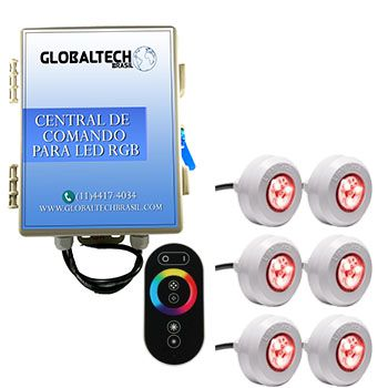 Led Piscina - Kit 6 Led Tec Light ABS RGB + Central + Controle Touch