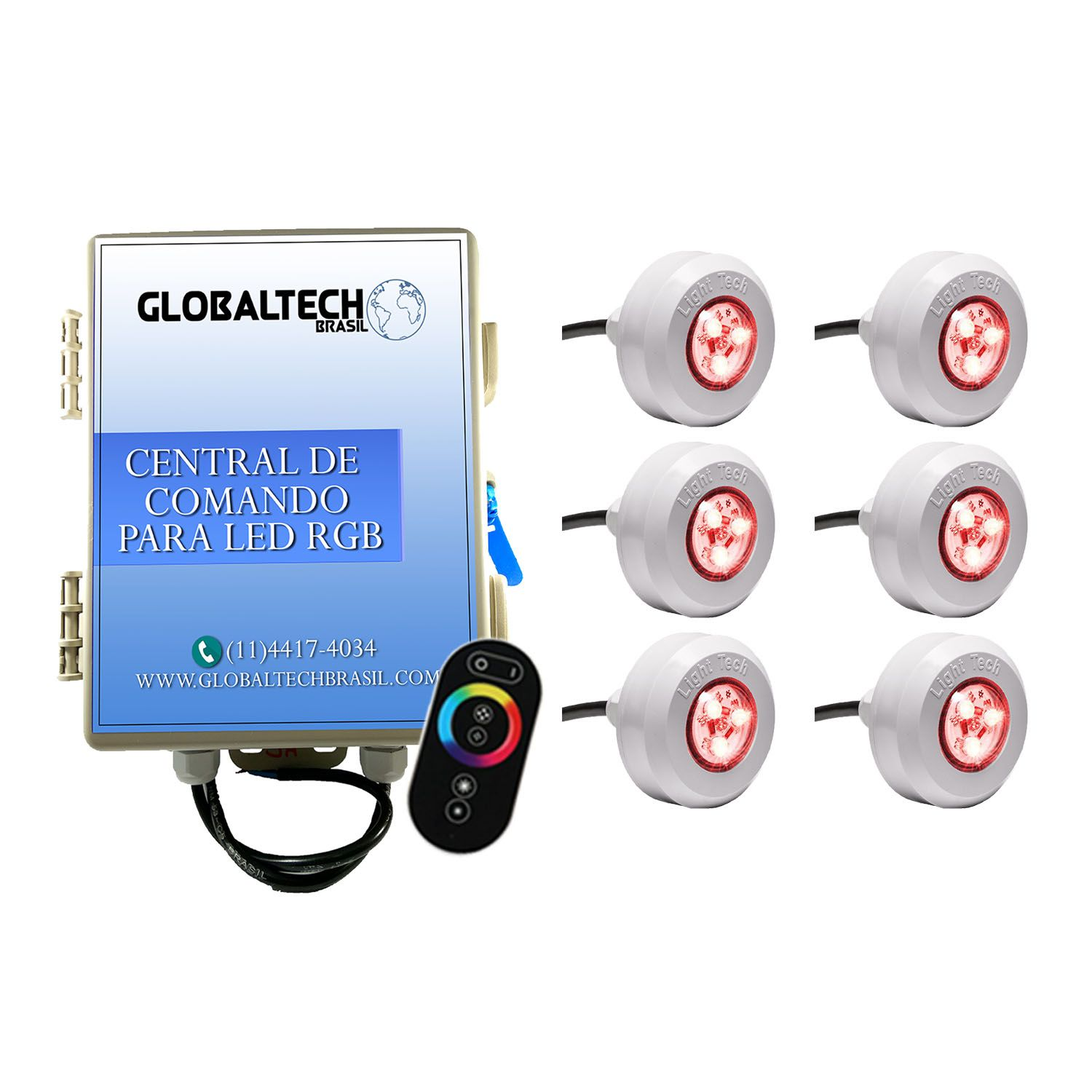 Kit 6 Led Piscina RGB Colorido + Central + Touch - Light Tech
