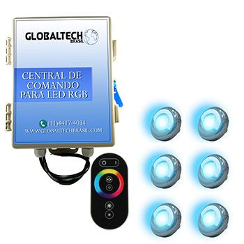 Led Piscina - Kit 6 Led Tholz 9W Inox RGB + Central + Controle Touch