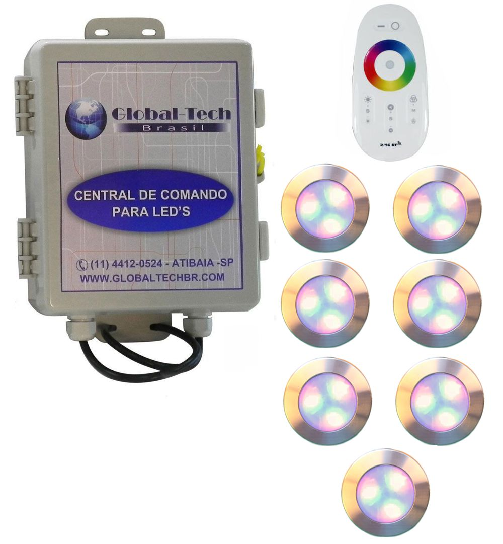 Led Piscina - Kit 7 Led RGB 12W Inox Divina Lux + Central + Controle