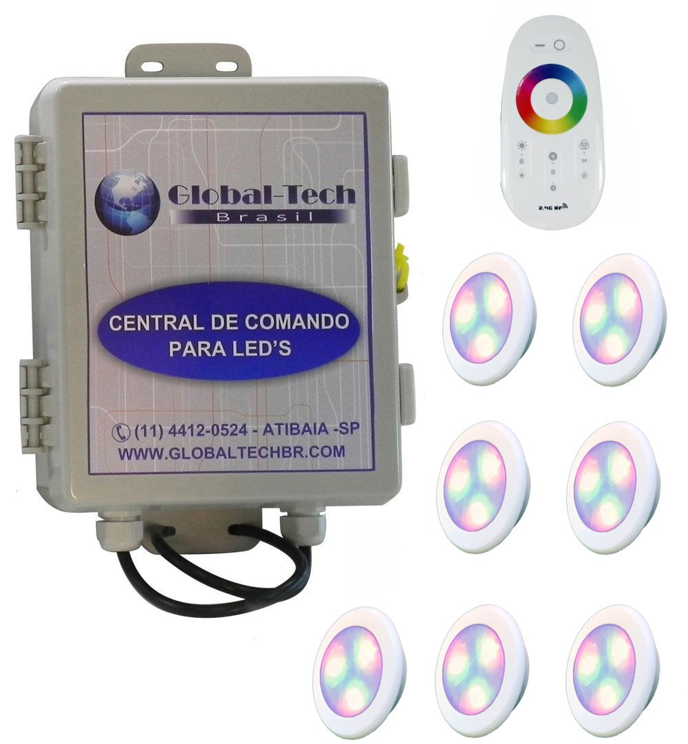 Led Piscina - Kit 7 Led RGB 6W ABS Divina Lux + Central + Controle