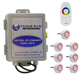 Led Piscina - Kit 7 Led Tec Light ABS RGB + Central + Controle Touch