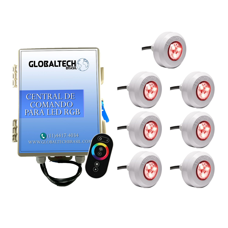 Kit 7 Led Piscina RGB 4,5W Tec Light + Central Touch - Light Tech