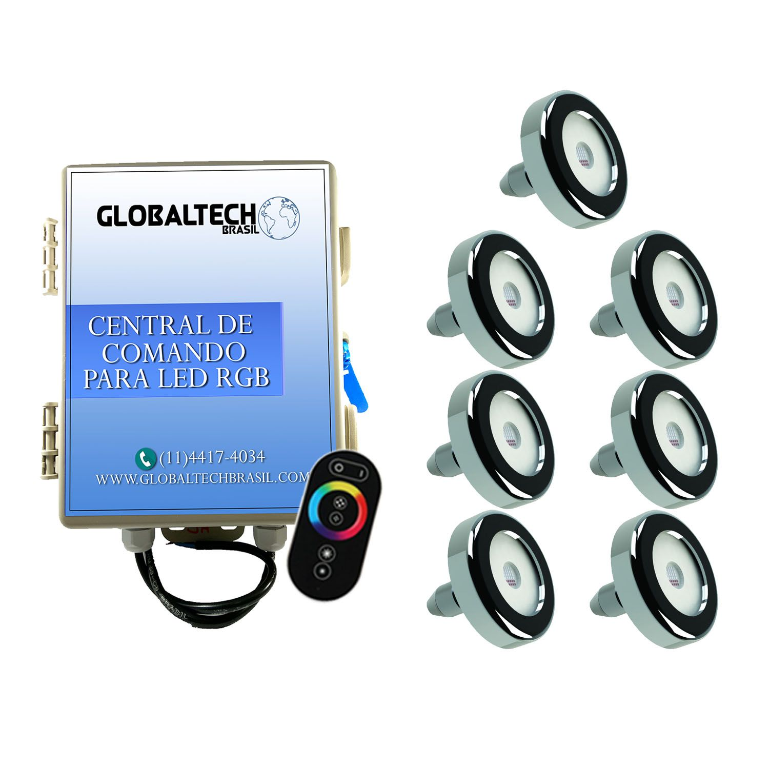 Kit 7 Led Piscina Inox RGB 9W + Central + Controle - Tholz
