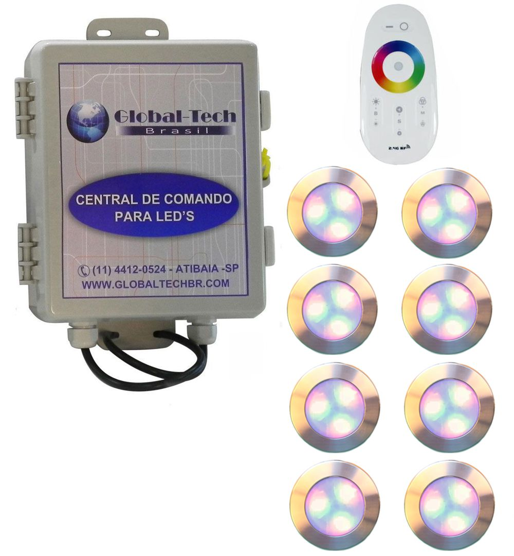 Led Piscina - Kit 8 Led RGB 12W Inox Divina Lux + Central + Controle
