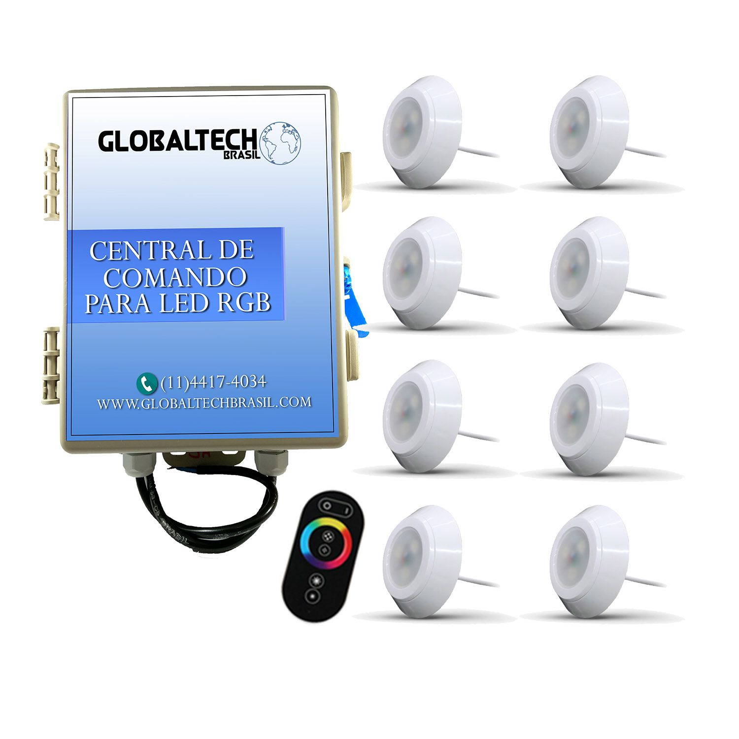 Kit 8 Led Piscina RGB 9W ABS Divina Lux + Central + Controle