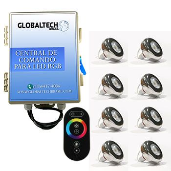 Led Piscina - Kit 8 Led Tholz 6W Inox RGB + Central + Controle Touch