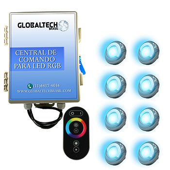 Led Piscina - Kit 8 Led Tholz 9W Inox RGB + Central + Controle Touch
