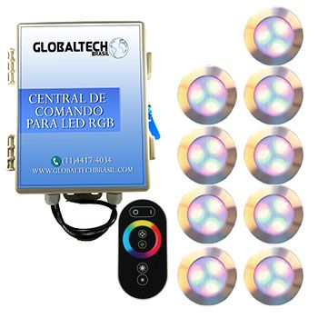 Led Piscina - Kit 9 Led RGB 12W Inox Divina Lux + Central + Controle