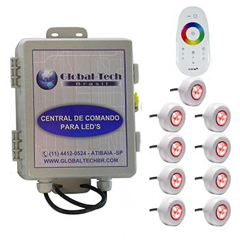 Led Piscina - Kit 9 Led Tec Light ABS RGB + Central + Controle Touch
