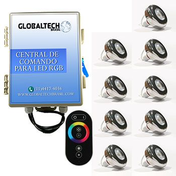 Led Piscina - Kit 9 Led Tholz 6W Inox RGB + Central + Controle Touch