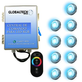 Led Piscina - Kit 9 Led Tholz 9W Inox RGB + Central + Controle Touch