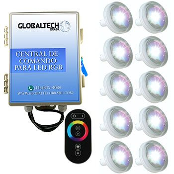 Led Piscina RGB - Kit 10 Led Tholz 4,5W ABS + Central + Controle Touch