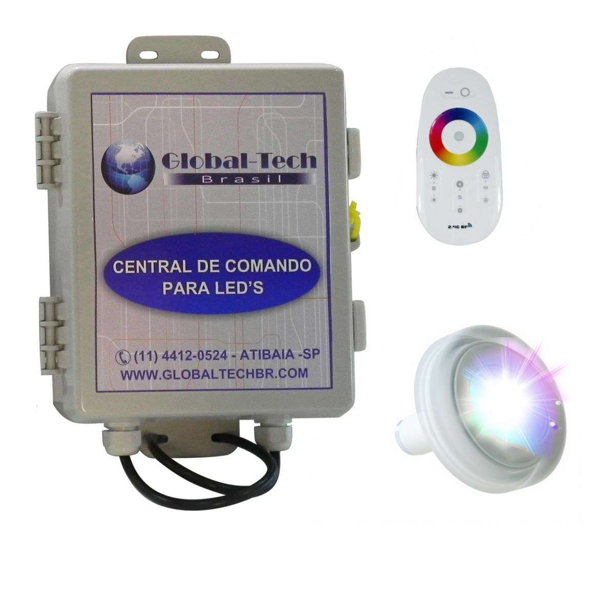 Led Piscina RGB - Kit 1 Led Tholz 4,5W ABS + Central + Controle Touch