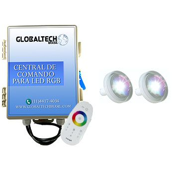 Led Piscina RGB - Kit 2 Led Tholz 4,5W ABS + Central + Controle Touch