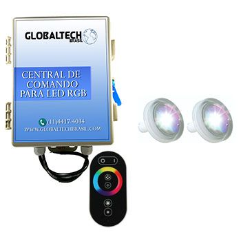 Kit 2 Led Piscina 4,5W ABS + Central + Controle Touch - Tholz