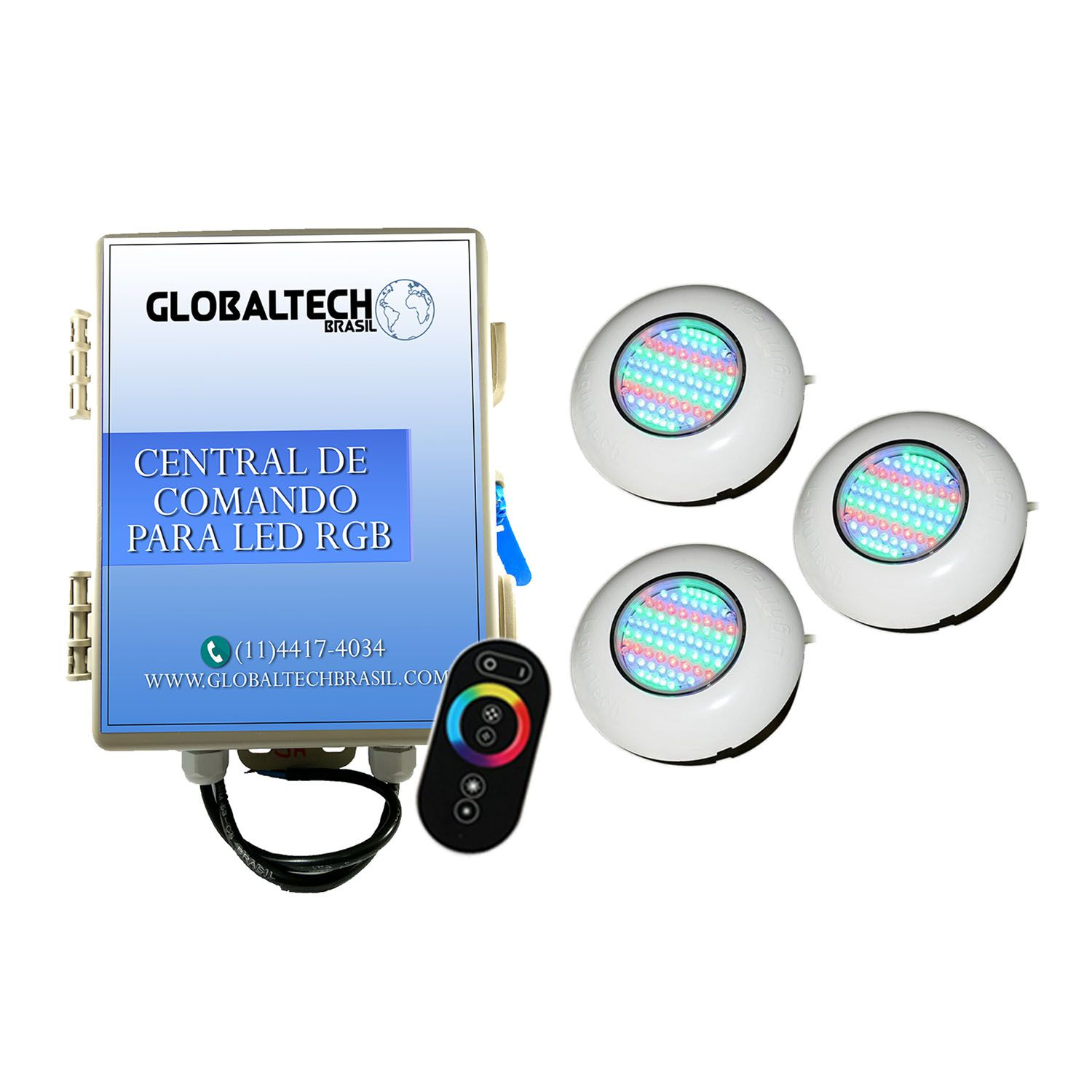 Led Piscina - Kit 3 Easy Led 70 + Central + Controle Touch