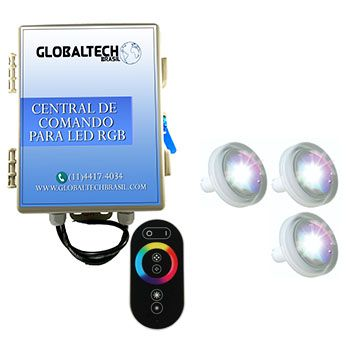 Kit 3 Led Piscina 4,5W ABS + Central + Controle Touch - Tholz