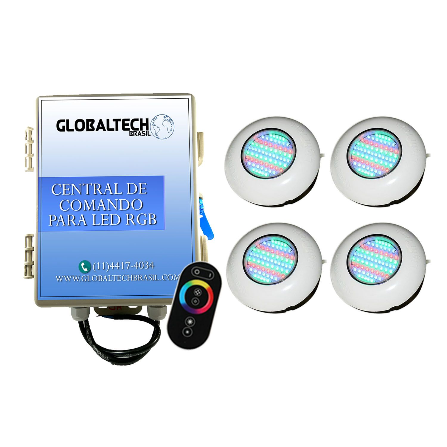 Led Piscina - Kit 4 Easy Led 70 + Central + Controle Touch