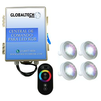 Kit 4 Led Piscina 4,5W ABS + Central + Controle Touch - Tholz