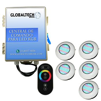 Led Piscina RGB - Kit 5 Easy Led 70 + Central + Controle Touch
