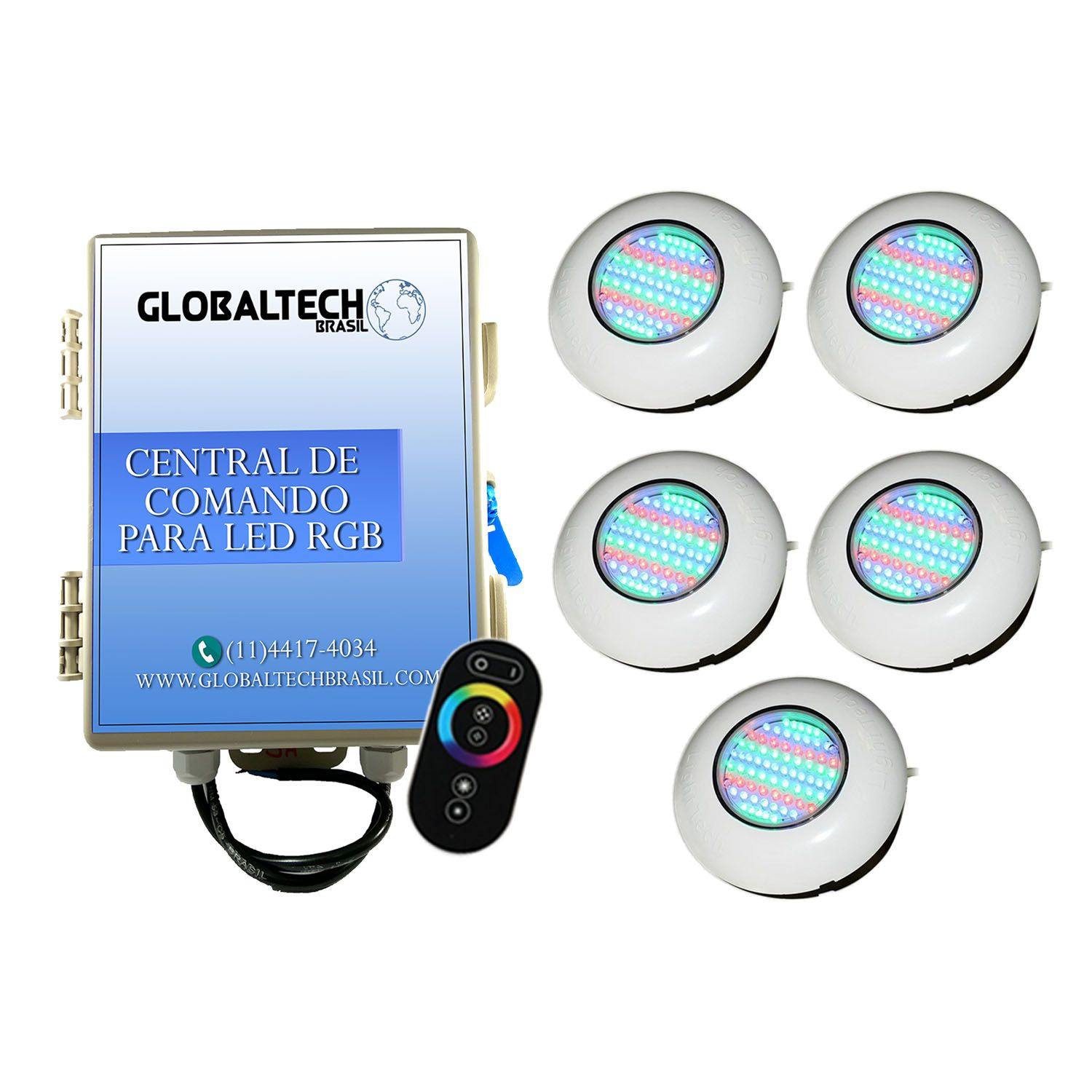 Led Piscina - Kit 5 Easy Led 70 + Central + Controle Touch