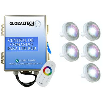 Led Piscina RGB - Kit 5 Led Tholz 4,5W ABS + Central + Controle Touch