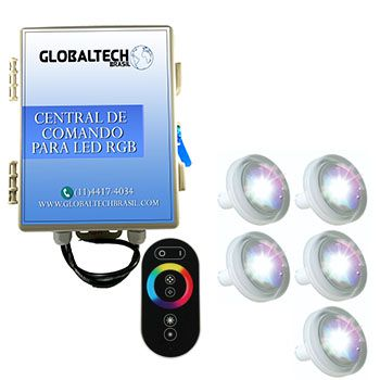 Kit 5 Led Piscina 4,5W ABS + Central + Controle Touch - Tholz