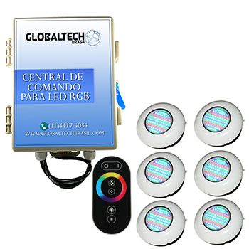 Led Piscina RGB - Kit 6 Easy Led 70 + Central + Controle Touch