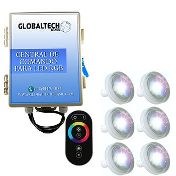 Led Piscina RGB - Kit 6 Led Tholz 4,5W ABS + Central + Controle Touch