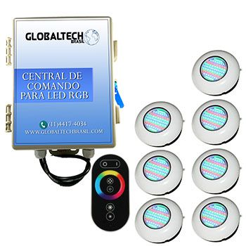 Led Piscina RGB - Kit 7 Easy Led 70 + Central + Controle Touch